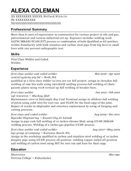 certified welder resume