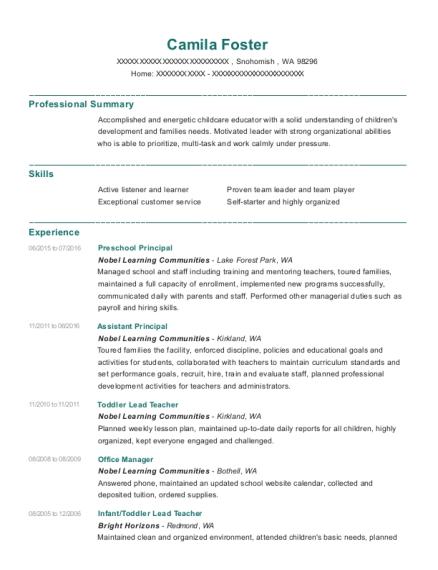 sample resume for school administrator