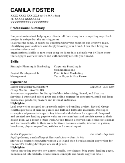 Best Senior Copywriter Resumes | ResumeHelp