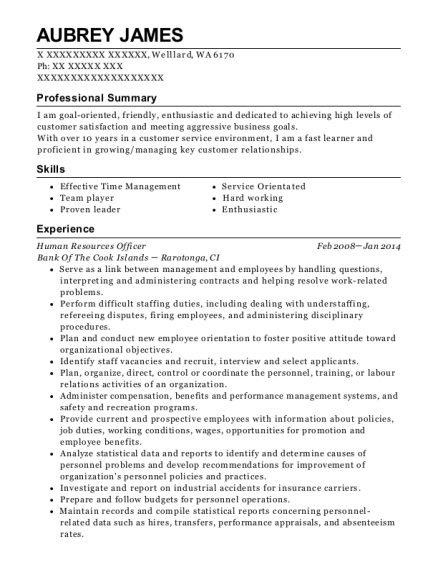 view resume human resources officer