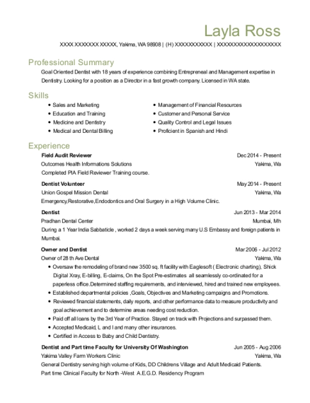 Outcomes Health Informations Solutions Field Audit Reviewer Resume