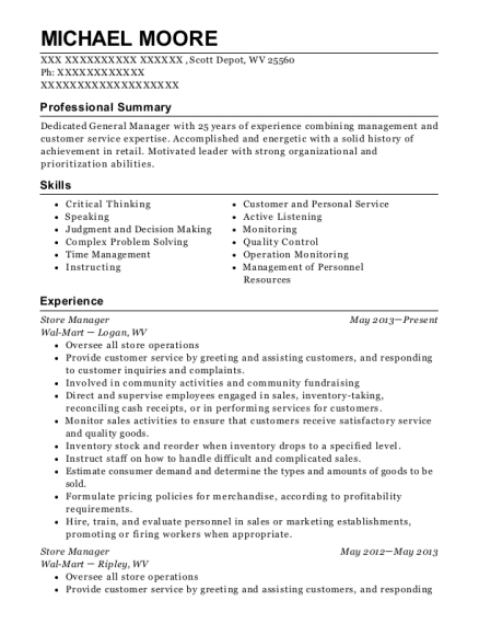 walmart co manager resume sample