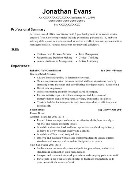 best rehab office coordinator resumes resumehelp
