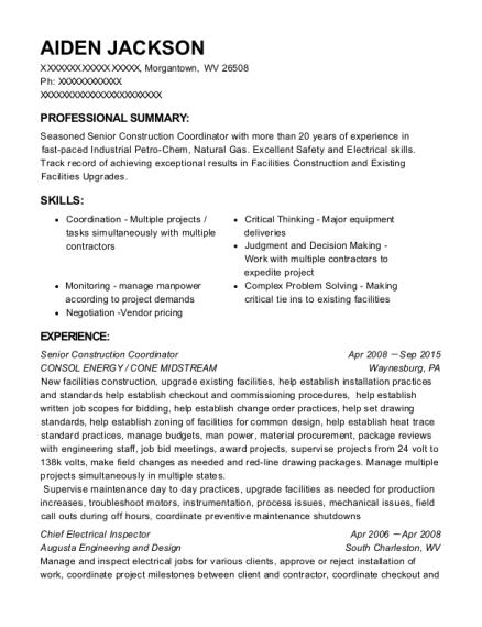 Consol Energy Senior Construction Coordinator Resume Sample ...