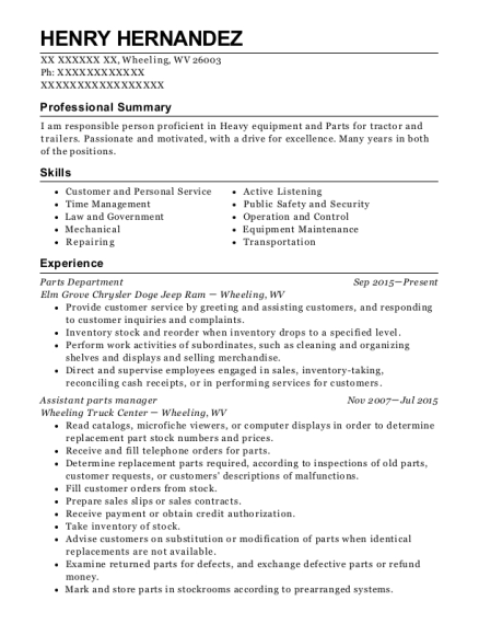 parts manager resumes