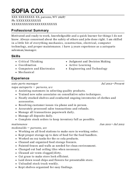 sofia cox - Parts Manager Resume