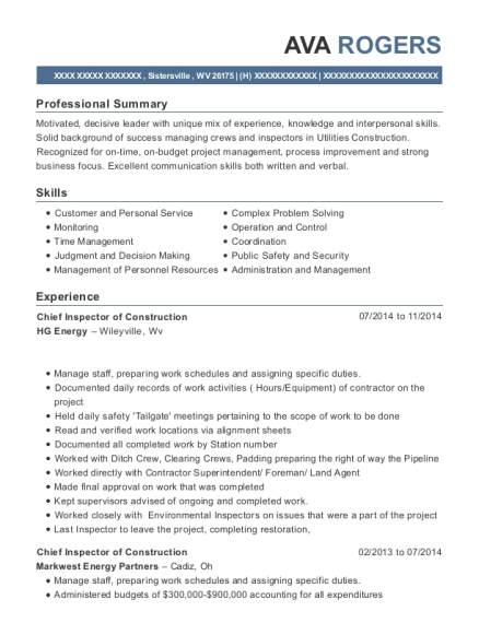 Hg Energy Chief Inspector Of Construction Resume Sample ...