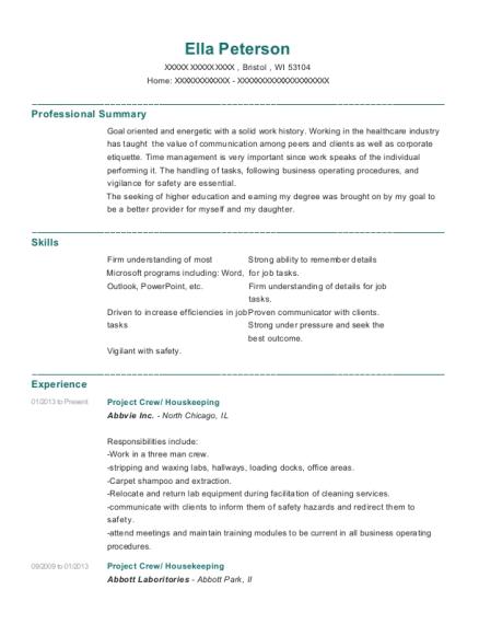 abbvie inc project crew resume sample bristol wisconsin resumehelp