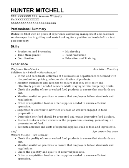 Pm Fish Steak House Chef And Head Cook Resume Sample