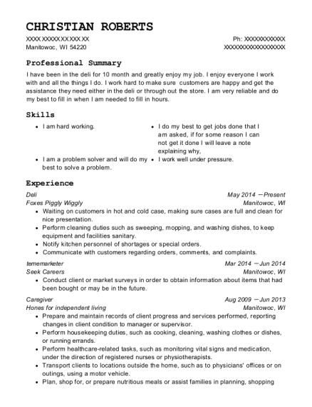 View Resume. Deli