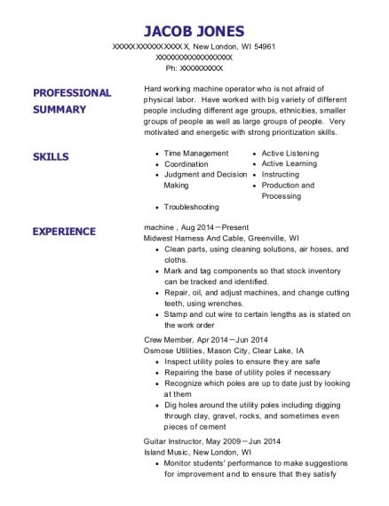 Press Machine Operator , Assembly Line Operator. Customize Resume · View  Resume