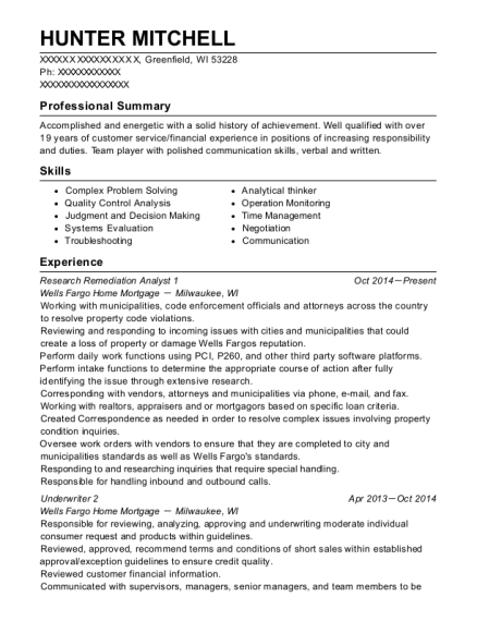 hunter mitchell - Quality Analyst Resume