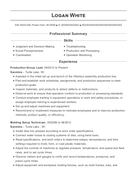 View Resume. Production Group Lead