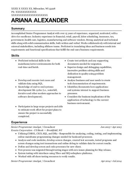 senior programmer analyst resume