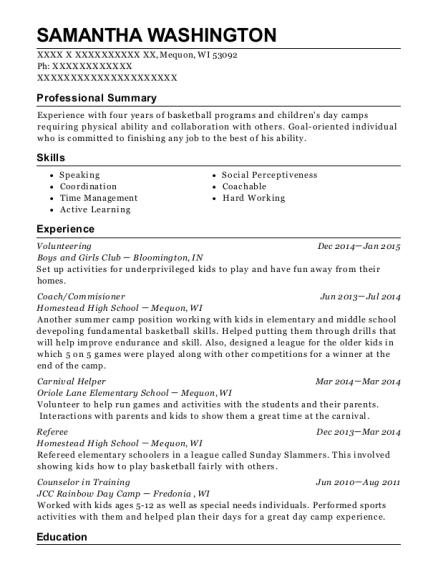 boys and girls club volunteering resume sample mequon wisconsin
