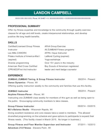Dance Dynamics Zumba Resume Sample - Plover Wisconsin | ResumeHelp