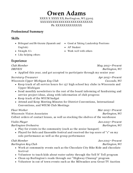 Deca Club Member Resume Sample Germantown Tennessee