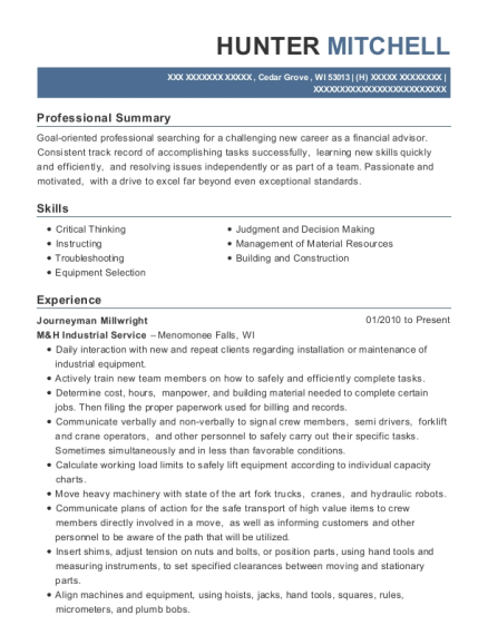 View Resume Journeyman Millwright