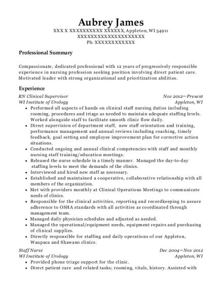volunteer home care rn clinical supervisor resume sample