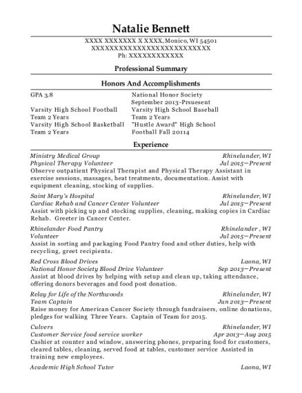 natalie bennett - National Honor Society Resume