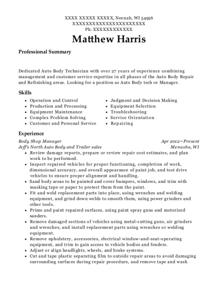 High Quality Auto Body Technician , Arborist/ Laborer. Customize Resume · View Resume  Auto Body Technician Resume