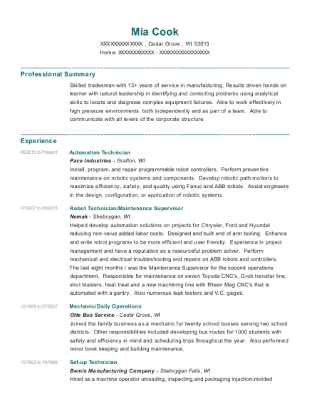 pace industries automation technician resume sample cedar grove