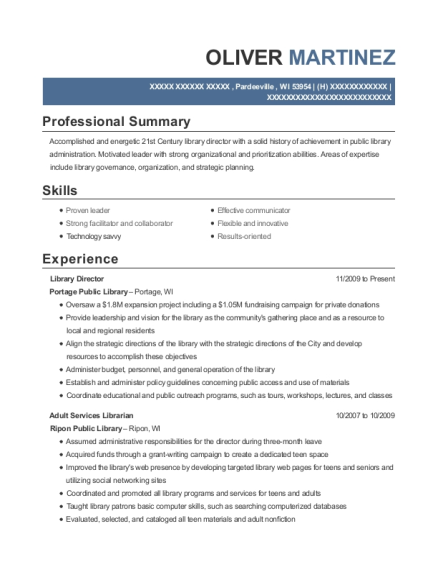 sample library director resume