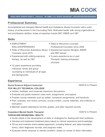 View Resume Social Science Adjunct Instructor