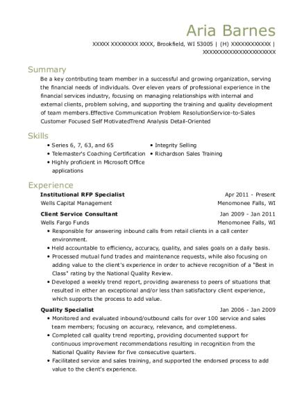 Wells Capital Management Institutional Rfp Specialist Resume Sample ...