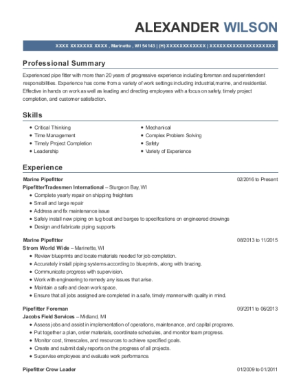 View Resume Marine Pipefitter