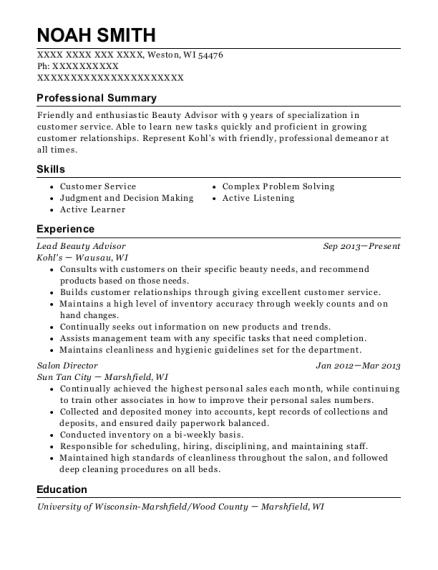 best lead beauty advisor resumes resumehelp