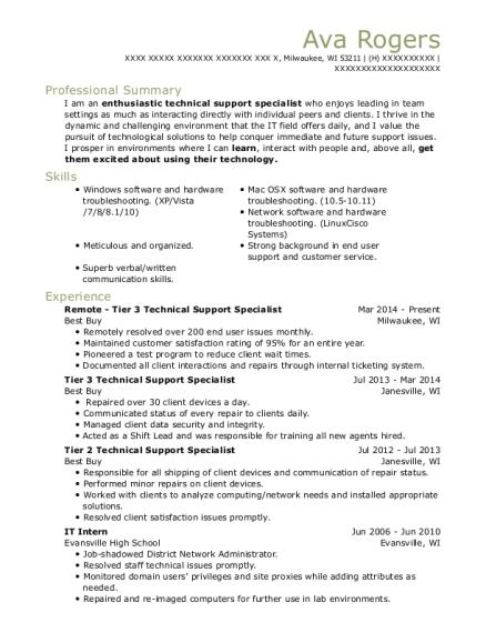 Best Tier 3 Technical Support Specialist Resumes | ResumeHelp