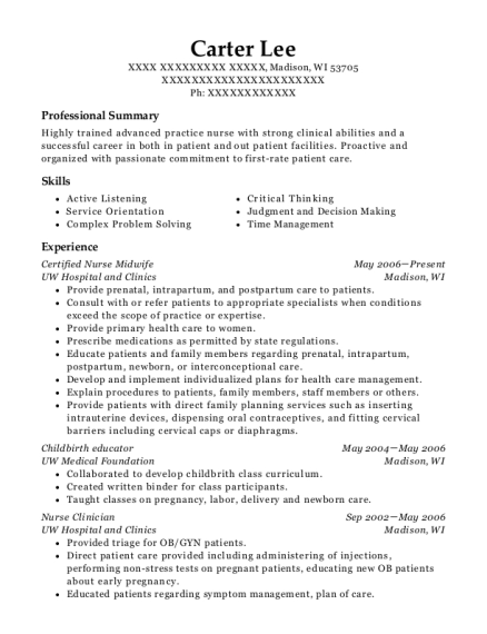 carter lee - Certified Nurse Midwife Resume