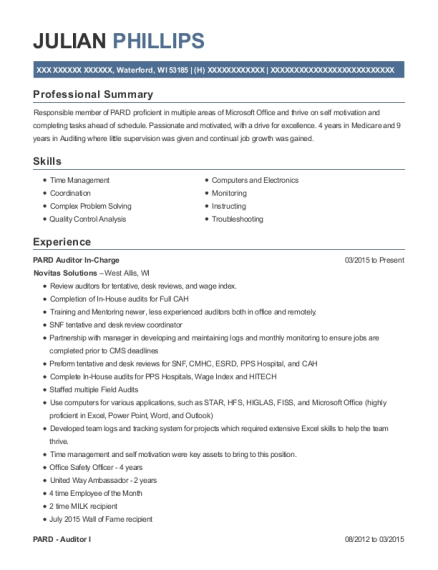 novitas solutions pard auditor in charge resume sample waterford
