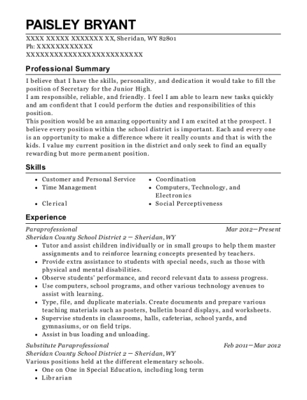 board of education substitute paraprofessional resume sample
