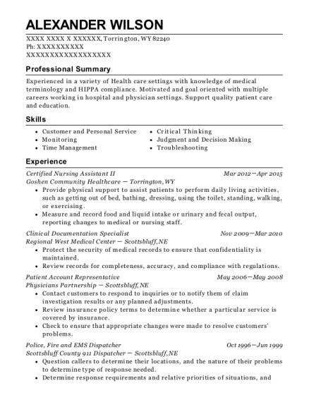 alexander wilson - Clinical Documentation Specialist Sample Resume